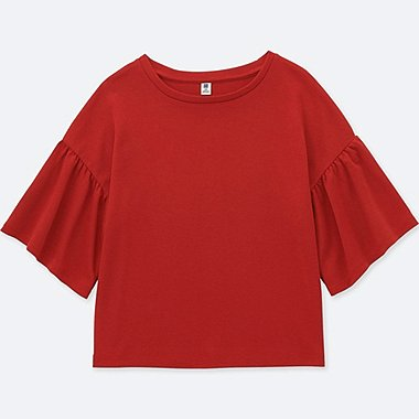 GIRLS FLARE HALF-SLEEVE T-SHIRT, RED, medium