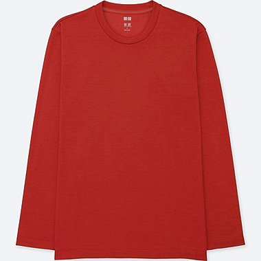 MEN DRY-EX CREWNECK LONG-SLEEVE T-SHIRT, RED, medium