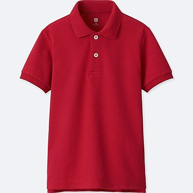 BOYS DRY PIQUE SHORT-SLEEVE POLO SHIRT, RED, medium