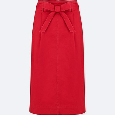 WOMEN HIGH WAIST BELTED NARROW SKIRT