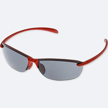 LIGHTWEIGHT HALF RIM SUNGLASSES, RED, medium