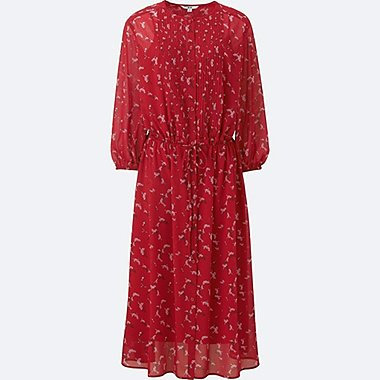 WOMEN SOFT WOVEN PRINTED 3/4 SLEEVE DRESS, RED, medium