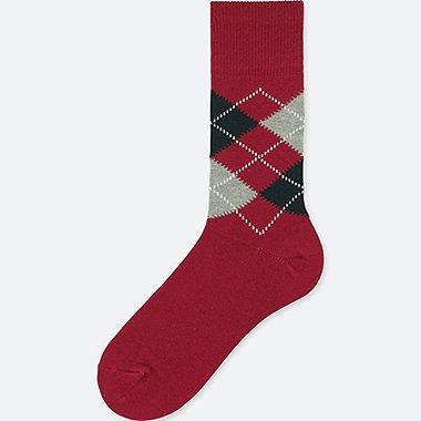MEN ARGYLE SOCKS, RED, medium