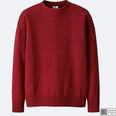 MEN U COTTON MOCK NECK LONG-SLEEVE SWEATER, RED, medium