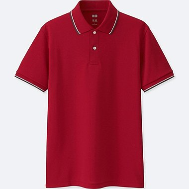 MEN DRY-EX PIQUE SHORT-SLEEVE POLO SHIRT, RED, medium
