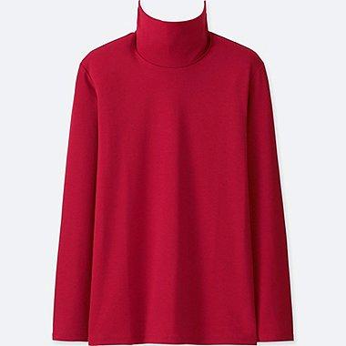WOMEN COMPACT COTTON TURTLENECK LONG-SLEEVE T-SHIRT, RED, medium