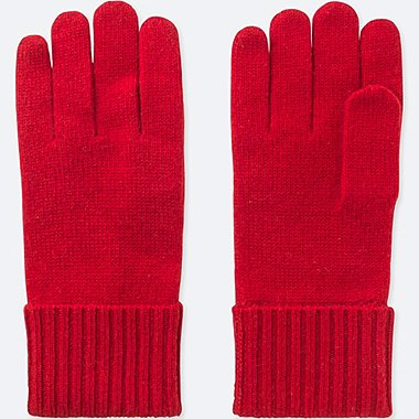 CASHMERE KNITTED GLOVES, RED, medium