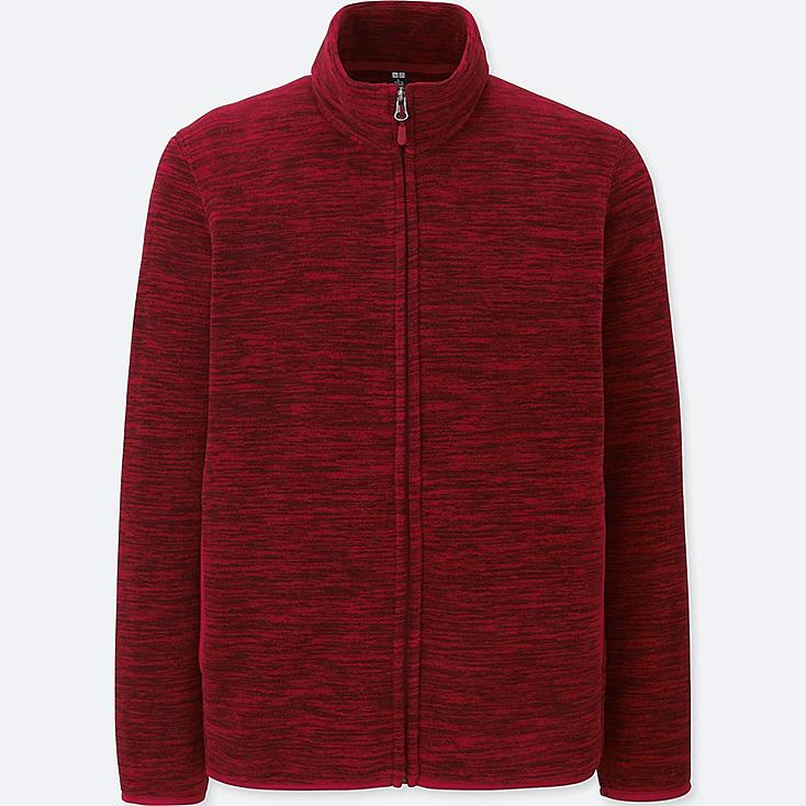 MEN FLEECE LONG-SLEEVE FULL-ZIP JACKET, RED, large