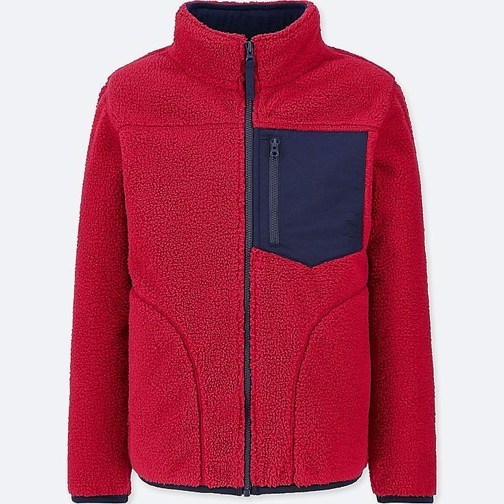 BOYS WINDPROOF FLEECE JACKET, RED, large