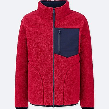 BOYS WINDPROOF FLEECE JACKET, RED, medium
