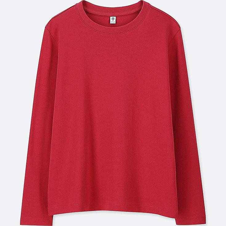 KIDS SOFT TOUCH CREW NECK LONG-SLEEVE T-SHIRT, RED, large