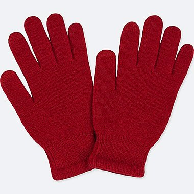 KIDS HEATTECH KNITTED GLOVES, RED, medium
