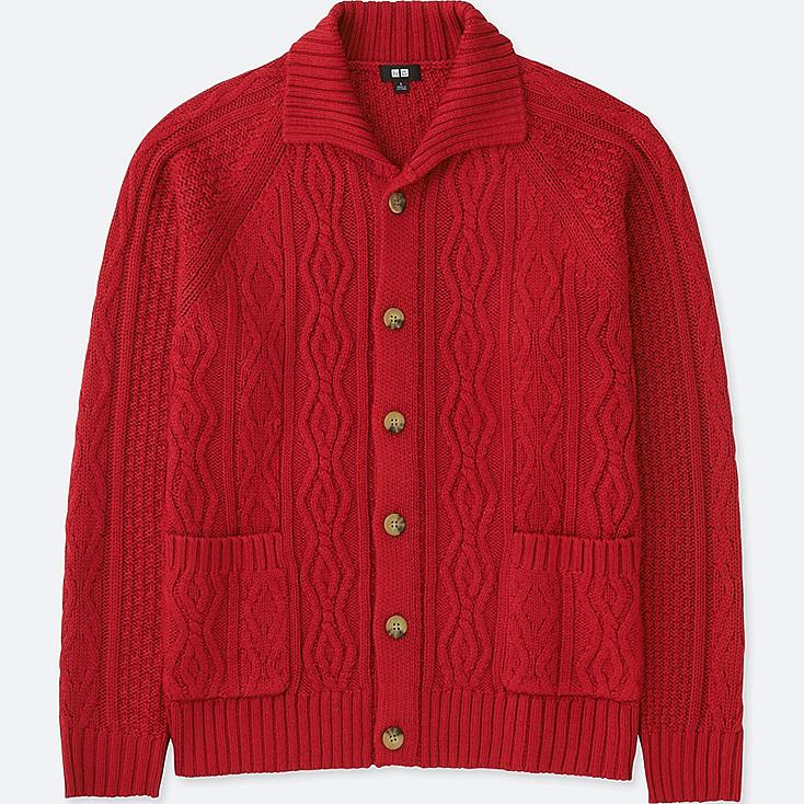 MEN CABLE KNIT LONG-SLEEVE CARDIGAN, RED, large
