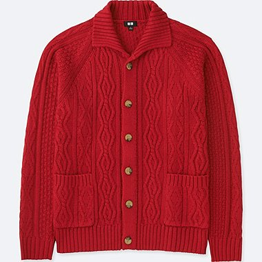 MEN CABLE KNIT LONG-SLEEVE CARDIGAN, RED, medium