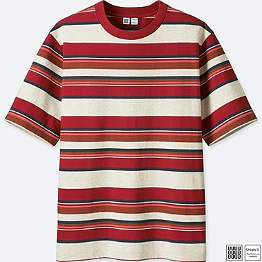 MEN U STRIPED SHORT-SLEEVE T-SHIRT, RED, medium