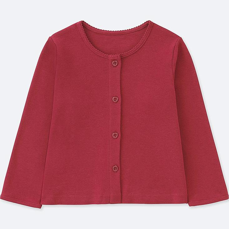 TODDLER COTTON CREW NECK LONG-SLEEVE CARDIGAN, RED, large