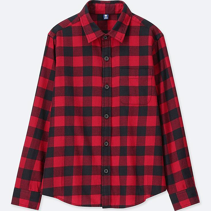 BOYS FLANNEL CHECKED LONG-SLEEVE SHIRT, RED, large