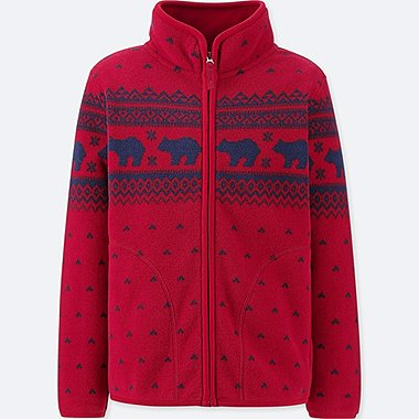 BOYS PRINTED FLEECE FULL-ZIP LONG-SLEEVE JACKET, RED, medium