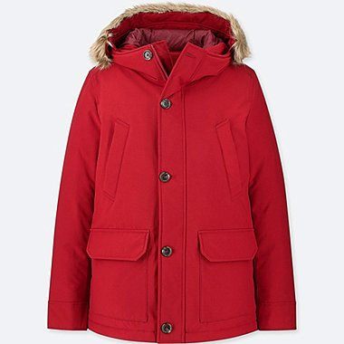 MEN NON-QUILT DOWN JACKET, RED, medium