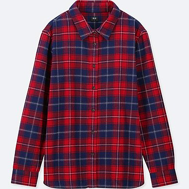 WOMEN FLANNEL CHECKED LONG-SLEEVE SHIRT, RED, medium