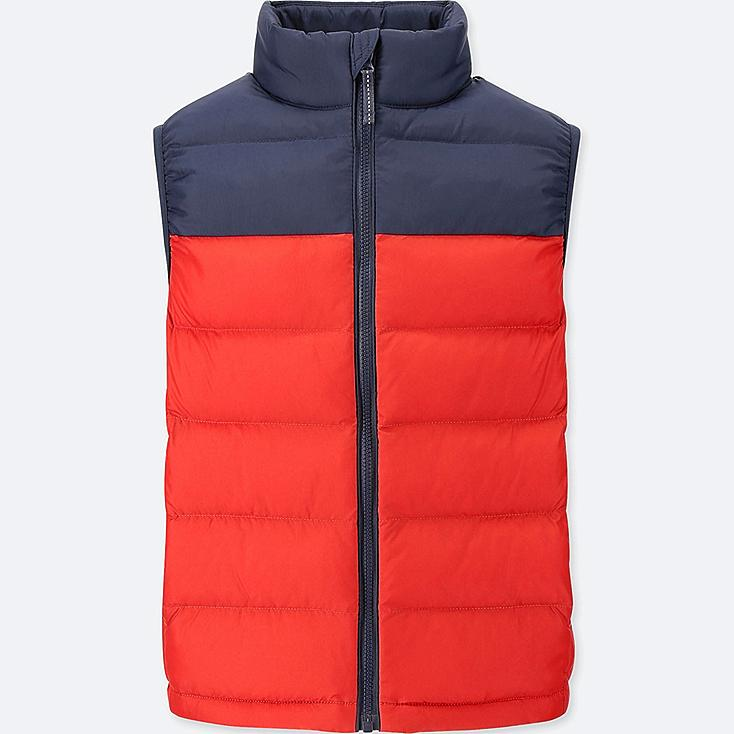 BOYS LIGHT WARM PADDED VEST, RED, large