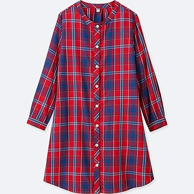 GIRLS FLANNEL CHECKED LONG-SLEEVE DRESS, RED, medium