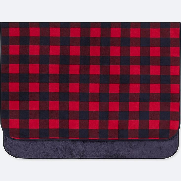 FLEECE BLOCK CHECKED LARGE BLANKET, RED, large