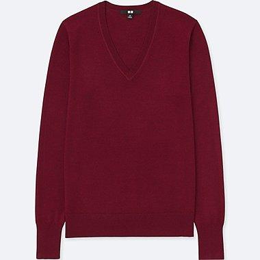 Damen 100% Extra feine Merinowolle Pullover (V-Ausschnitt)
