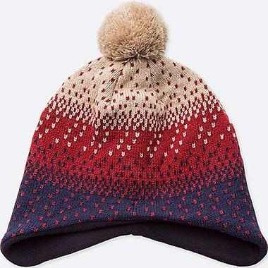 KIDS HEATTECH KNITTED CAP EAR COVER, RED, medium