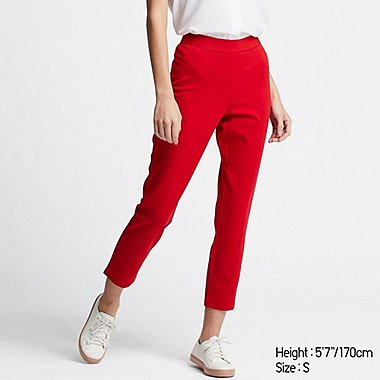 WOMEN PONTE SLIM PANTS, RED, medium