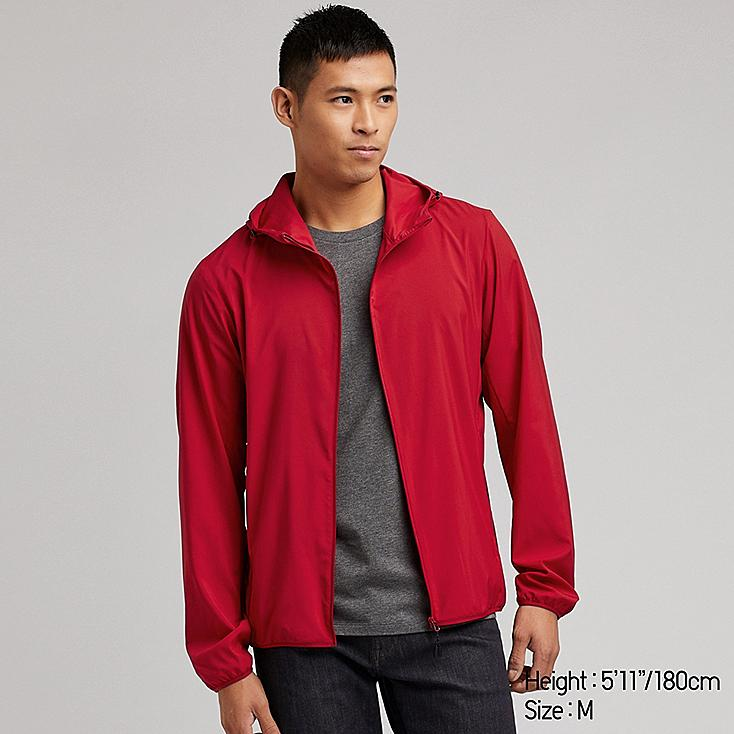 MEN POCKETABLE PARKA, RED, large