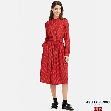 WOMEN GEORGETTE GATHERED LONG-SLEEVE DRESS (INES DE LA FRESSANGE), RED, medium