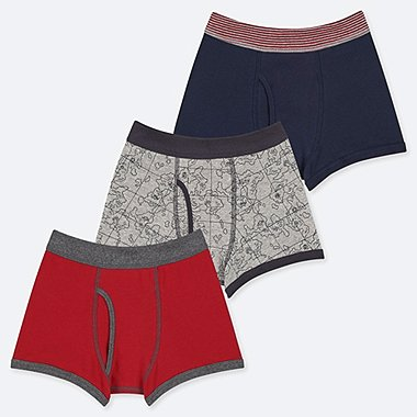BOYS MAP PRINT BOXER BRIEFS (THREE PAIRS)