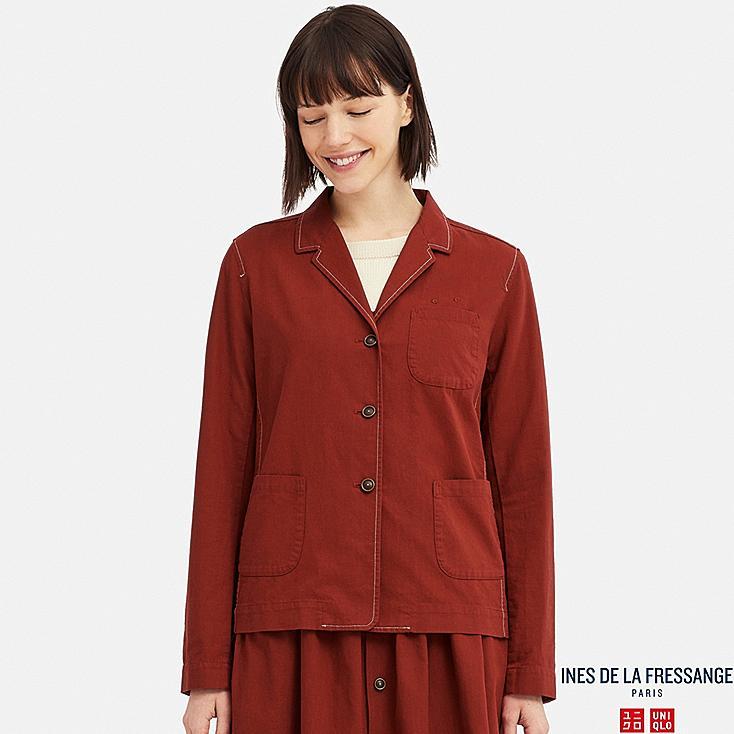 WOMEN COTTON SHIRT JACKET (INES DE LA FRESSANGE), RED, large