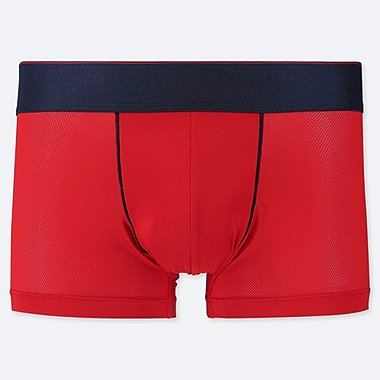 MEN AIRism MESH LOW-RISE BOXER BRIEFS, RED, medium