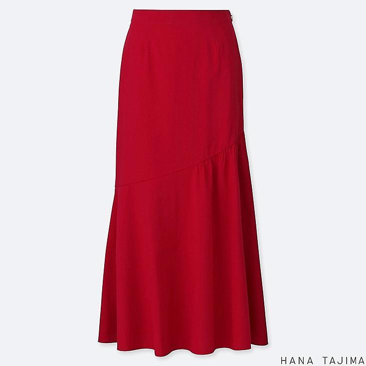 WOMEN SEERSUCKER FLARE LONG SKIRT (HANA TAJIMA), RED, large