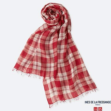 WOMEN COTTON SILK CHECKED STOLE (INES DE LA FRESSANGE), RED, medium