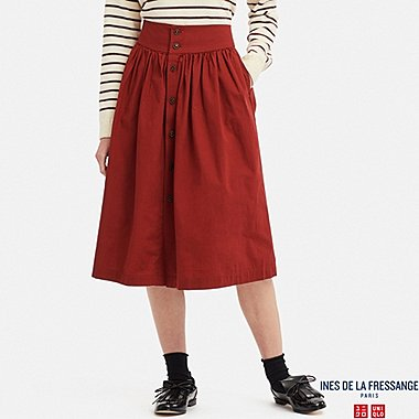 WOMEN COTTON GATHERED SKIRT (INES DE LA FRESSANGE), RED, medium