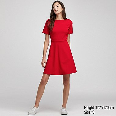 WOMEN PONTE SHORT-SLEEVE DRESS, RED, medium