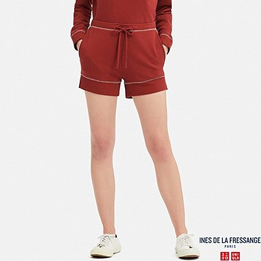 WOMEN FRENCH TERRY SHORTS (INES DE LA FRESSANGE), RED, medium
