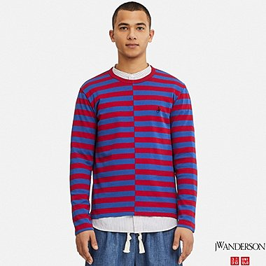 MEN ASYMMETRIC STRIPED LONG-SLEEVE T-SHIRT (JW Anderson), RED, medium