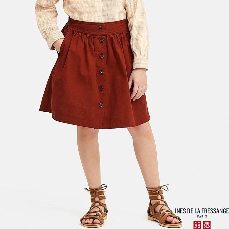 GIRLS COTTON GATHERED SKIRT (INES DE LA FRESSANGE), RED, large