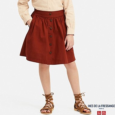 GIRLS COTTON GATHERED SKIRT (INES DE LA FRESSANGE), RED, medium