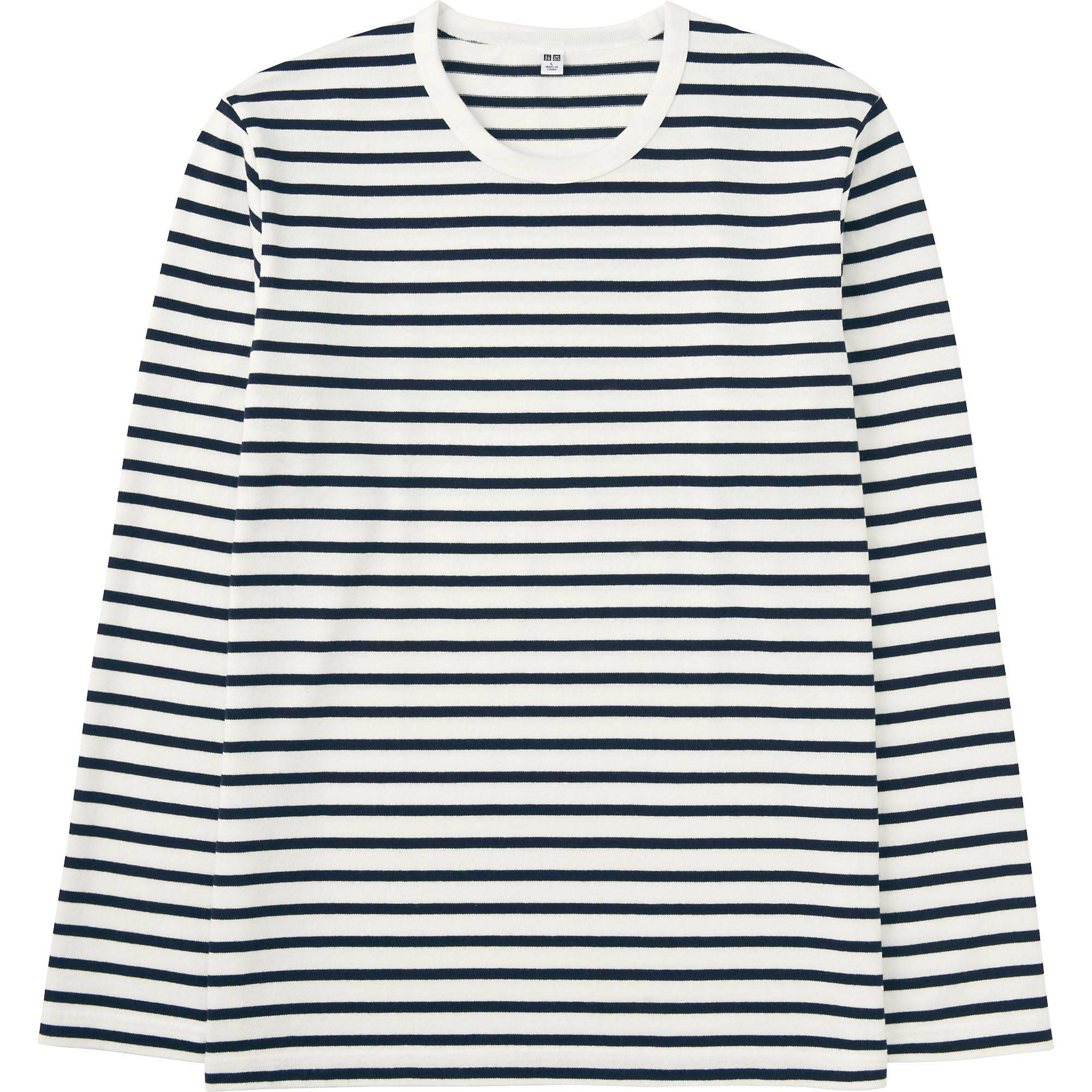 MEN WASHED STRIPED CREWNECK LONG SLEEVE T-SHIRT | UNIQLO US
