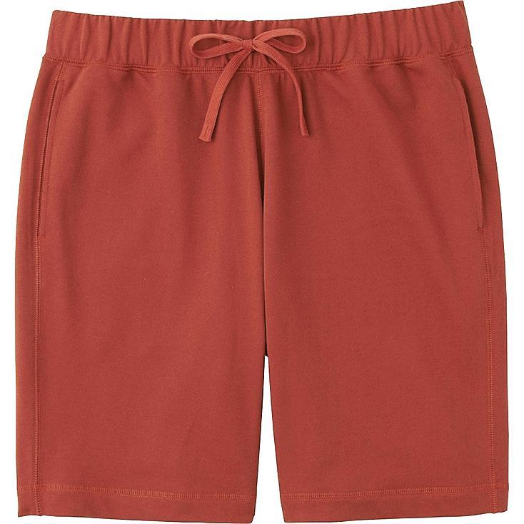 Men Elastic Waist Shorts, RED, large