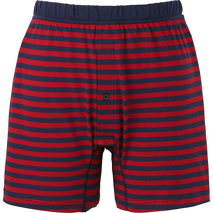 MEN SUPIMA COTTON KNIT STRIPED TRUNKS, RED, large