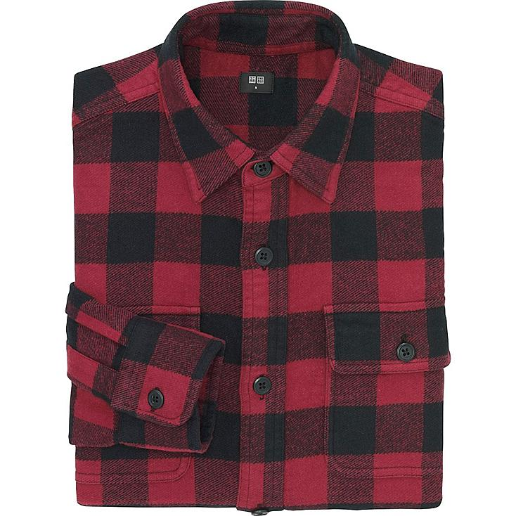 Men Heavy Flannel Long Sleeve Shirt Uniqlo Us