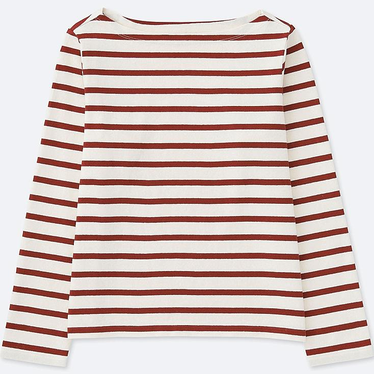 WOMEN STRIPED BOAT NECK LONG SLEEVE T-SHIRT, RED, large