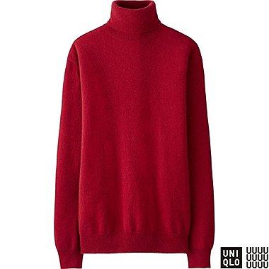 WOMEN U CASHMERE TURTLENECK SWEATER, RED, medium