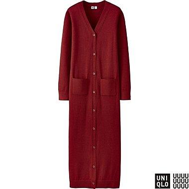 WOMEN U EXTRA FINE MERINO V-NECK LONG CARDIGAN, RED, medium